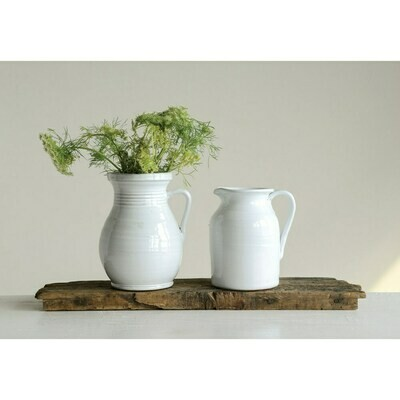 White Terra Cotta Pitcher - Small