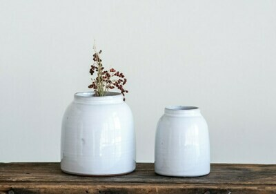 White Terra Cotta Vase, Set of 2