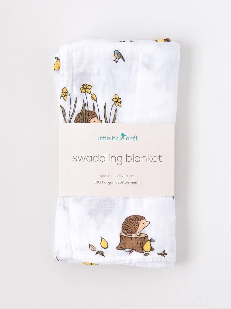 Woodland Hedgehog Swaddling Blanket