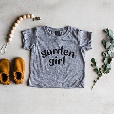 Garden Girl Kids T-Shirt in Gray