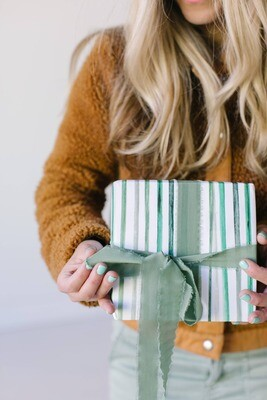 Green Stripes Gift Wrap Roll