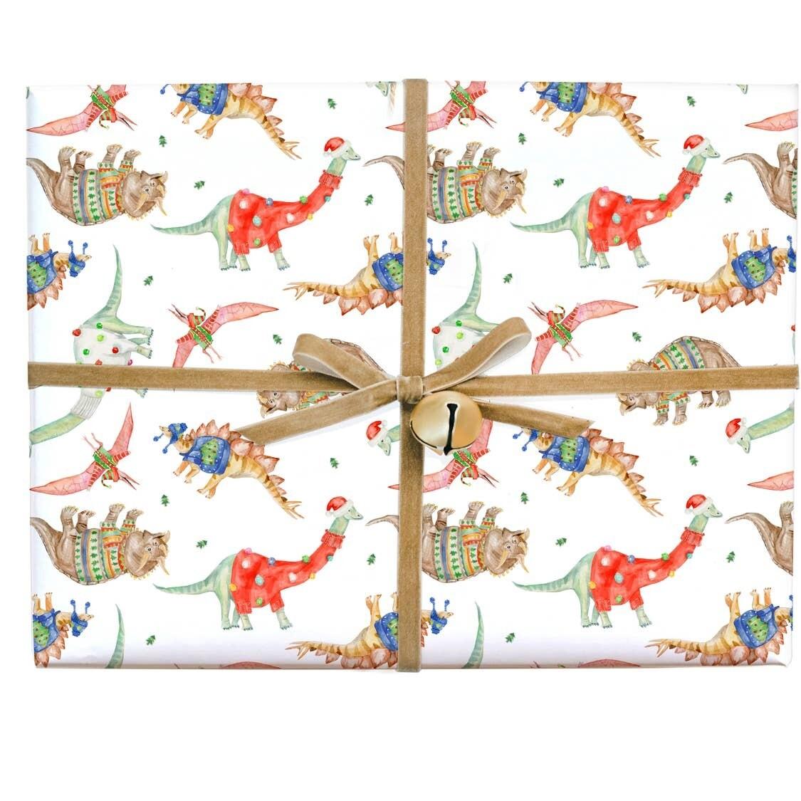 Festive Dinosaur Gift Wrap Roll