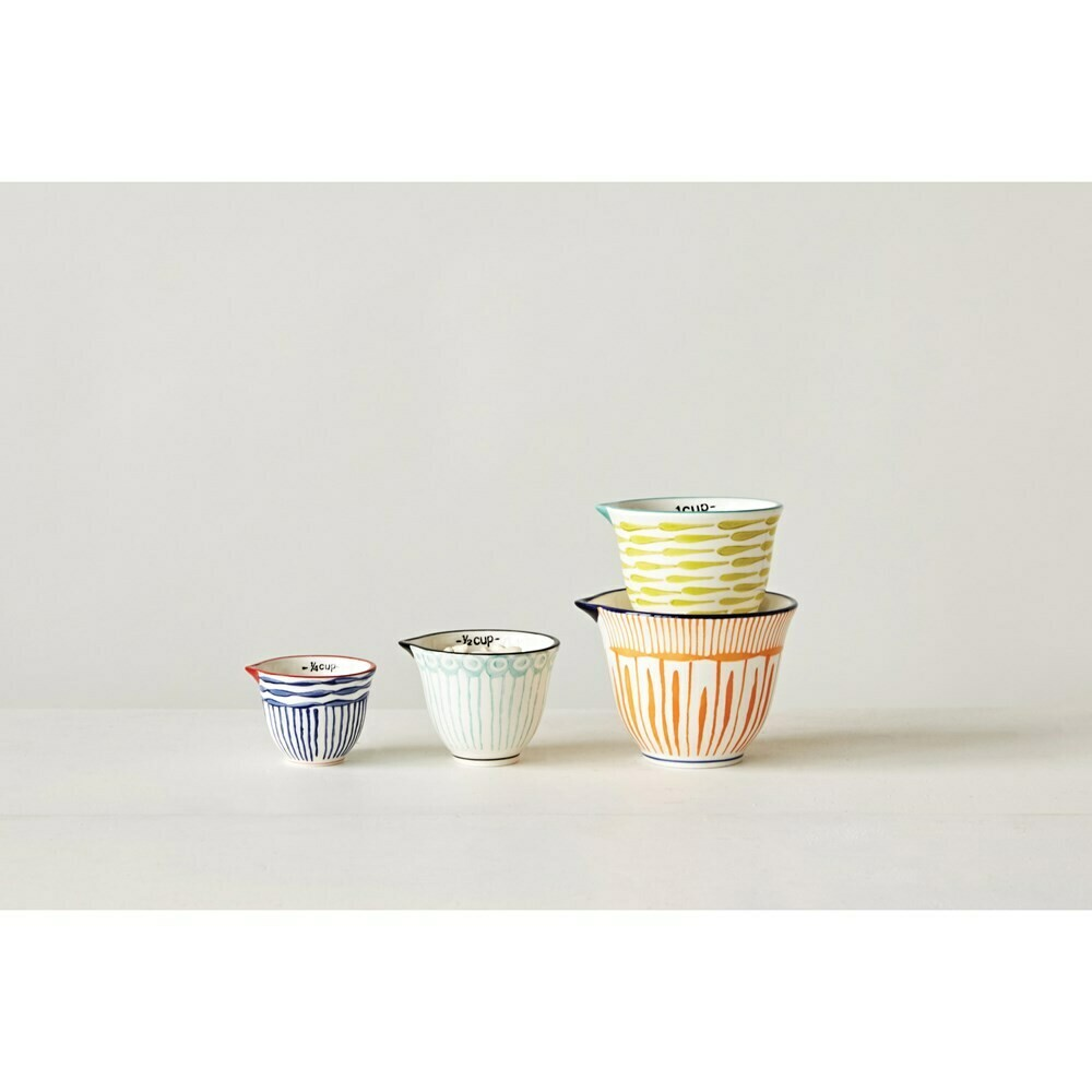 Striped Stoneware Measuring Cups