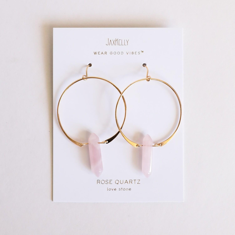 Rose Quartz Hoop Earring