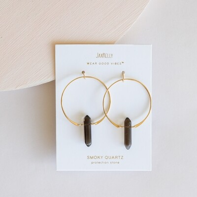 Smoky Quartz Hoop Earring