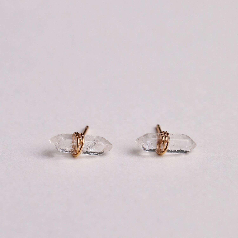 Clear Quartz Mineral Point Stud Earring