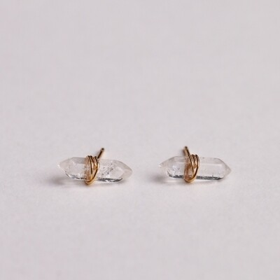Clear Quartz Mineral Point Stud Earring