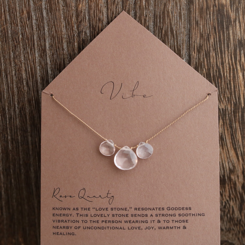 3 Stone Rose Quartz Necklace