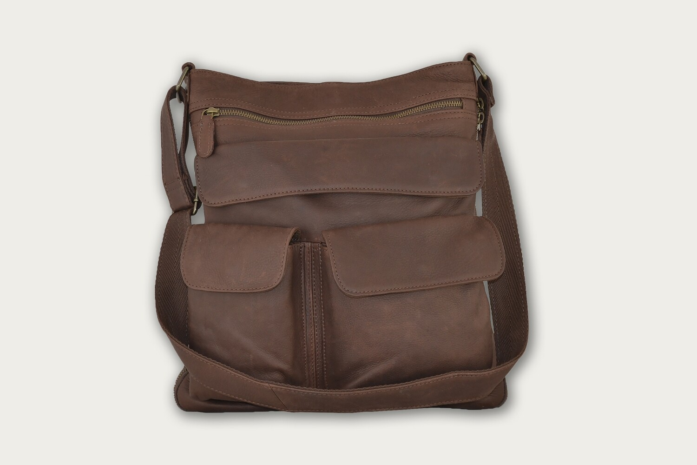 Dark Brown HoBo Crossbody Expanable Leather Purse HO-401
