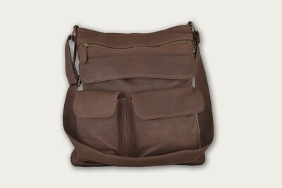 Dark Brown HoBo Crossbody Expanable Leather Purse HO-401