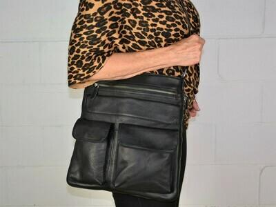 Hobo Crossbody Expandable Black Leather Purse HO-701