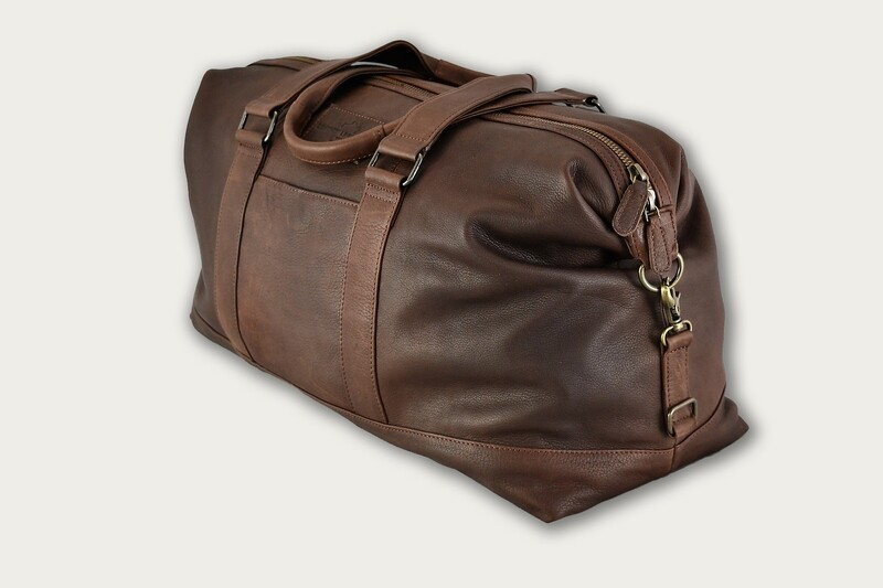 Dark Brown Leather Duffel LLS-101
