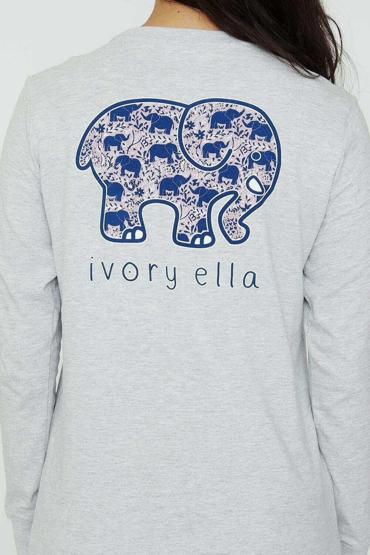 Heather Grey Elephant LS Ella Tee - XL