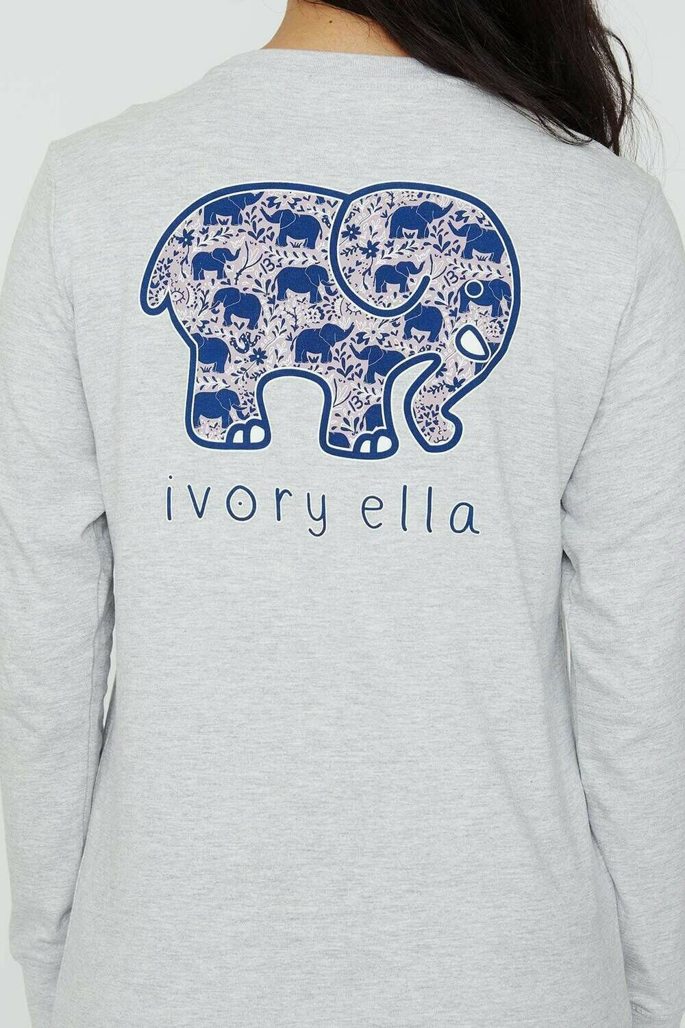 Heather Grey Elephant LS Ella Tee - L