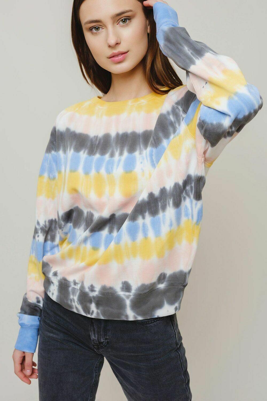 Alissa Tie Dye Stripe Sweatshirt L