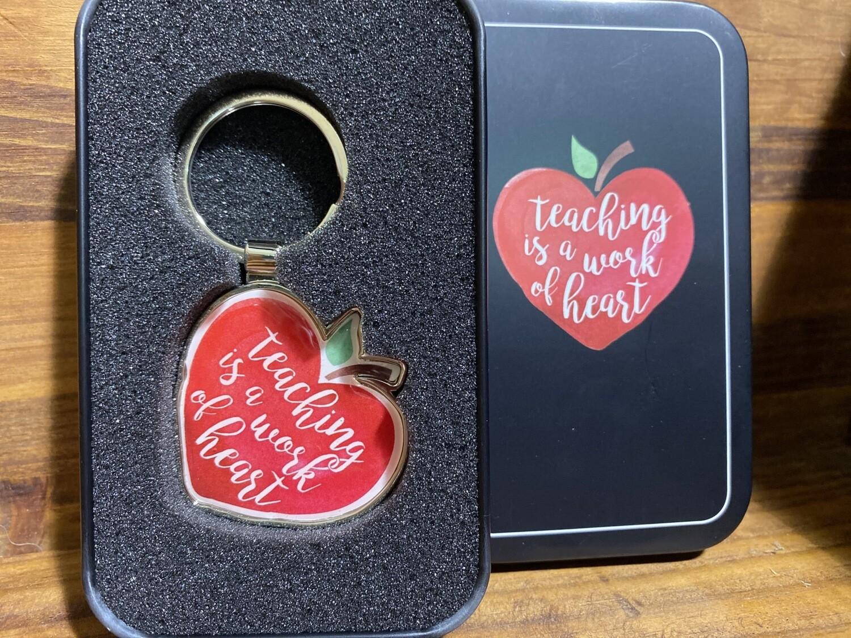 Teacher Work Of Heart Keychain