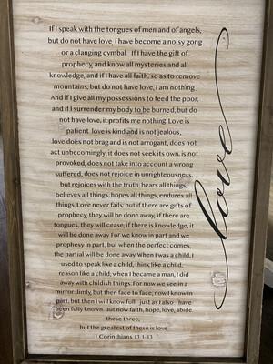 Love Sign I Cor. 13: 1 - 13