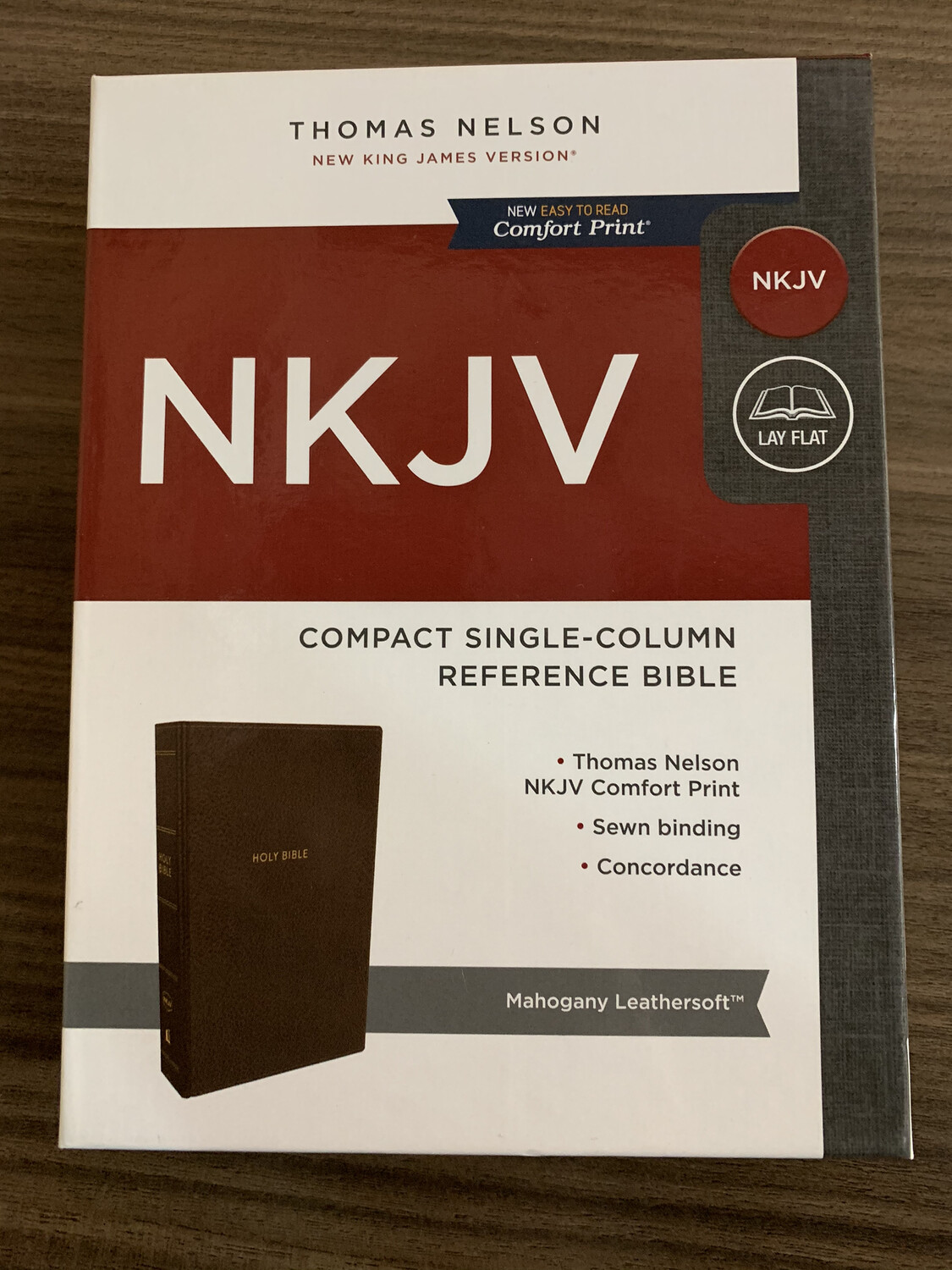 NKJV Compact Single Column Bible mahogany
