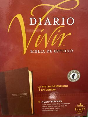 RVR1960, Diario Vivir Biblia De Estudio, Cafe, Indice