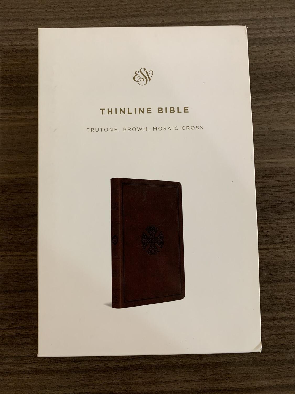 ESV Thinline Bible Brown Mosaic Cross