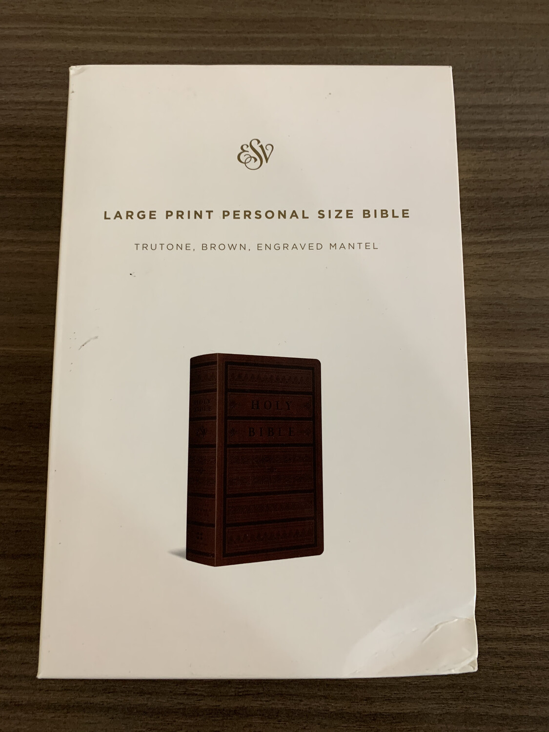 ESV LP brown Engraved Bible