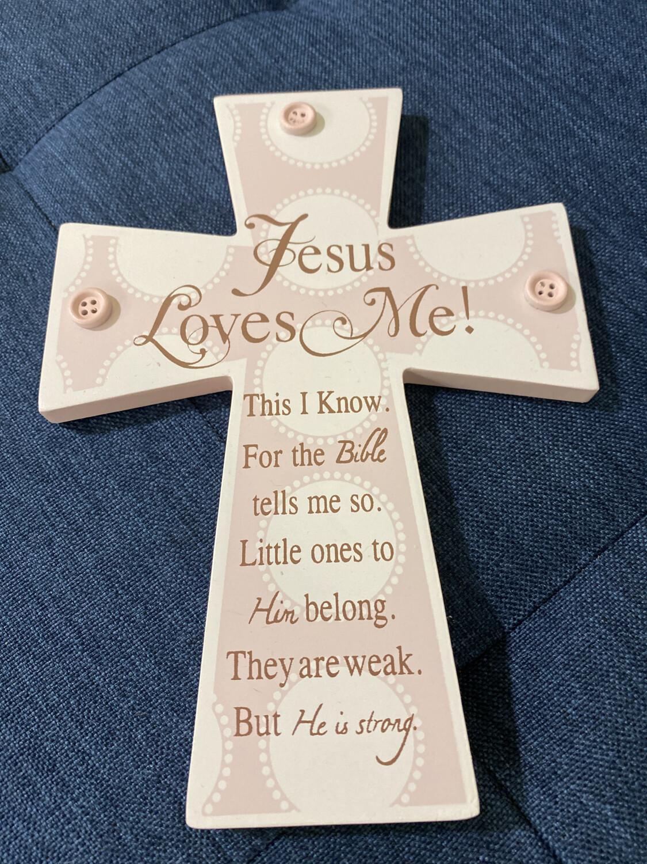 Pink Jesus Loves Me Cross