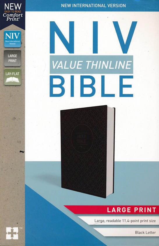NIV LP Value Thinline Bible Charcoal Black