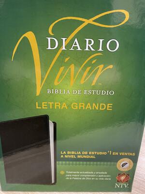 Diario Vivir, NTV, Biblia De Estudio, Letre Grande, Con Indice, Negro