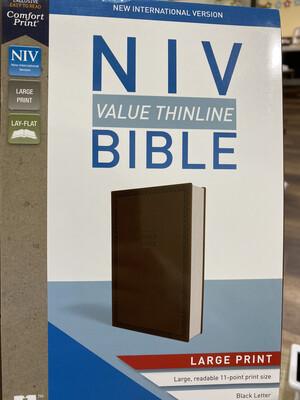 NIV, Value Thinline, Large Print, Chocolate Leathersoft
