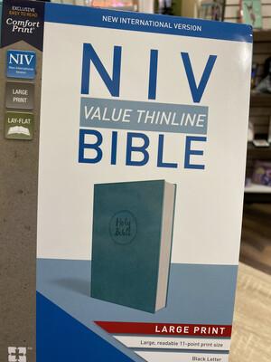 NIV, Value Thinline, Large Print, Turquoise Leathersoft