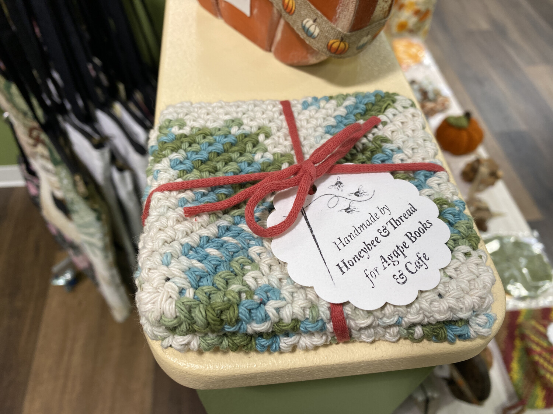 Crochet Coaster Set Greens