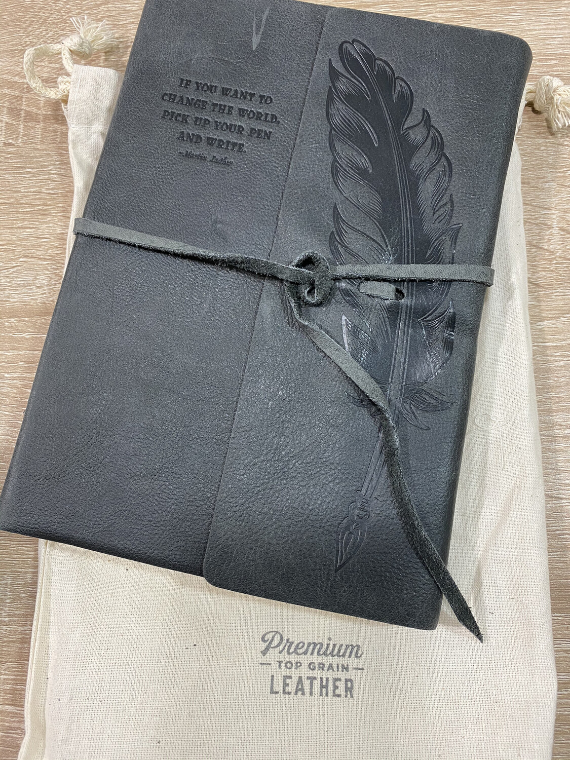 Journal, Leather Grey Feather