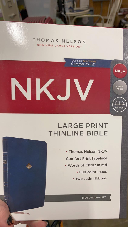 NKJV, Large Print, Thinline Bible, Blue Leathersoft