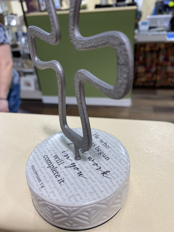 Believe Ceramic Pedestal Cross