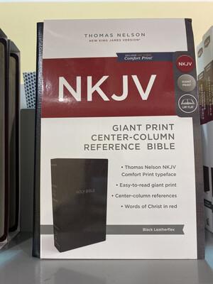 NKJV, Giant Print, Center-column Reference Bible, Black, Leatherflex