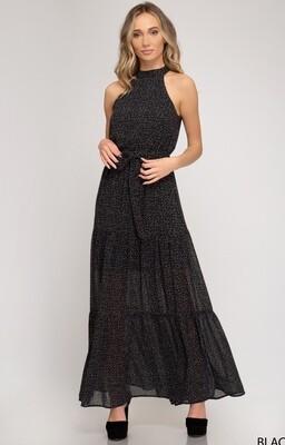 Sleeveless Printed Woven Maxi Dress With Waist Tie💛