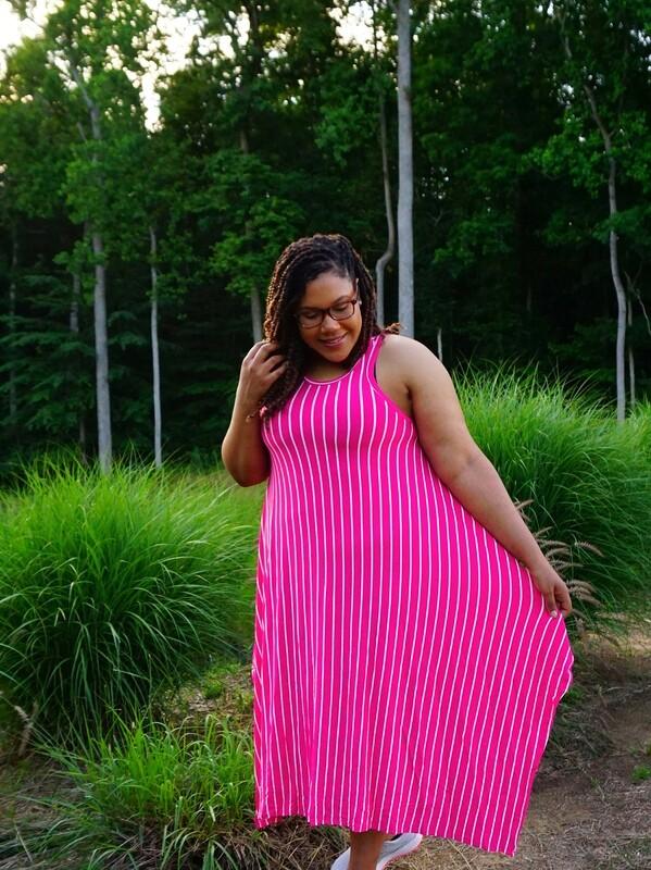 Sleeveless Jersey Striped Dress💛