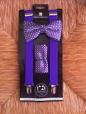 Men's Clip-on Suspenders, Bow Tie, and Hanky Set