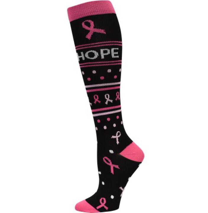 Pro Cure Pink Ribbon Fashion Compression Socks