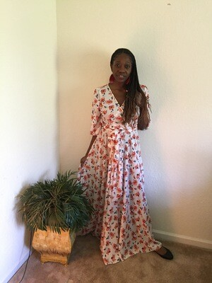 Red Floral Long Sleeve Maxi Dress