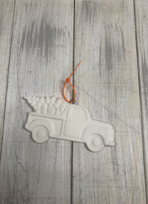 Truck with Tree flat ornament