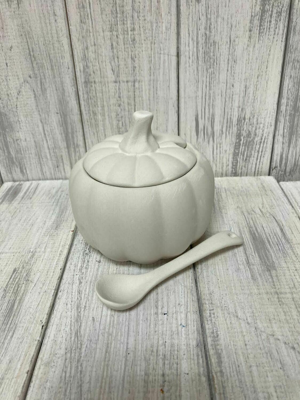 Pumpkin Sugar Bowl w/ Spoon