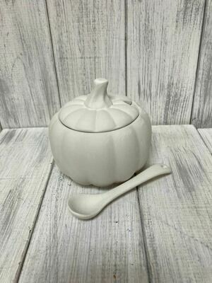 Pumpkin Sugar Bowl w/ Spoon