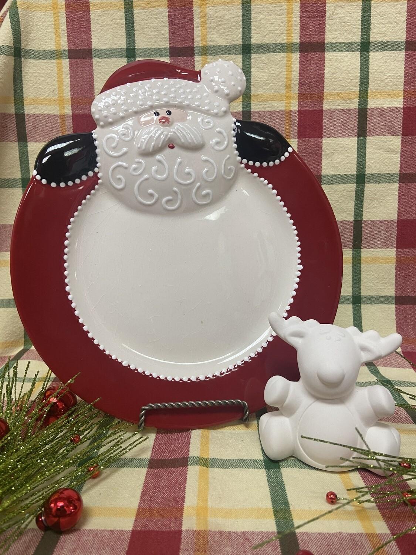 Christmas Santa/Snowman Rim Plate To-Go Kit