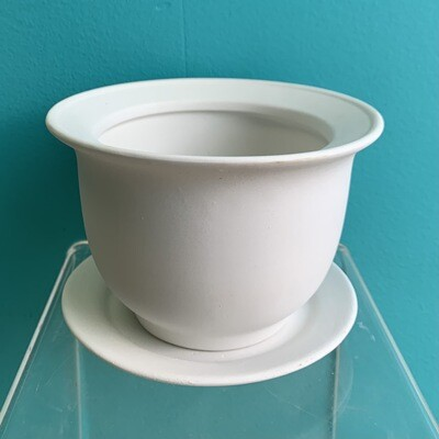 Small Flared Flower Pot W/ Saucer