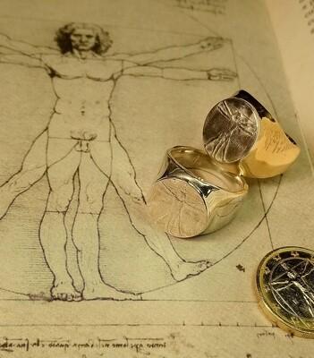 """Anello """"Leonardo da Vinci"""" Uomo di Vitruvio argento 925"""