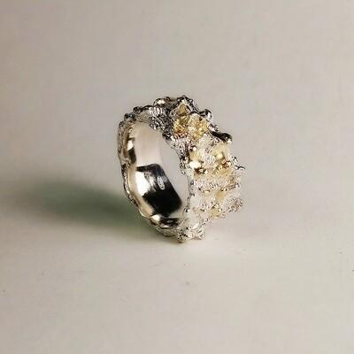 Anello Corallo argento 925 e gocce d'oro fuse sopra