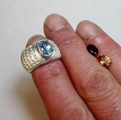 Anello argento traforato gemma topazio granato citrino