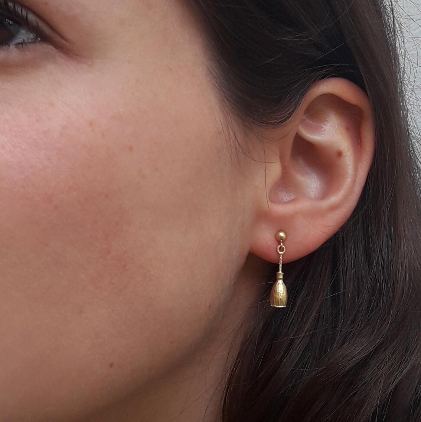 Boucles d'oreilles PAVOT pendantes plaqué or