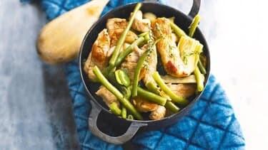 Sauté de dinde façon poule au pot & fagot de haricots verts